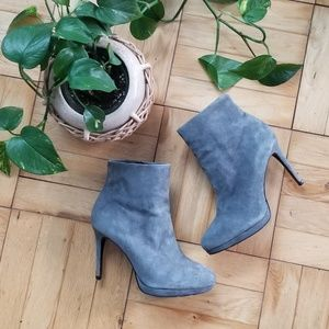 ZARA Heeled Gray Suede Ankle Boots, 6.5 /37